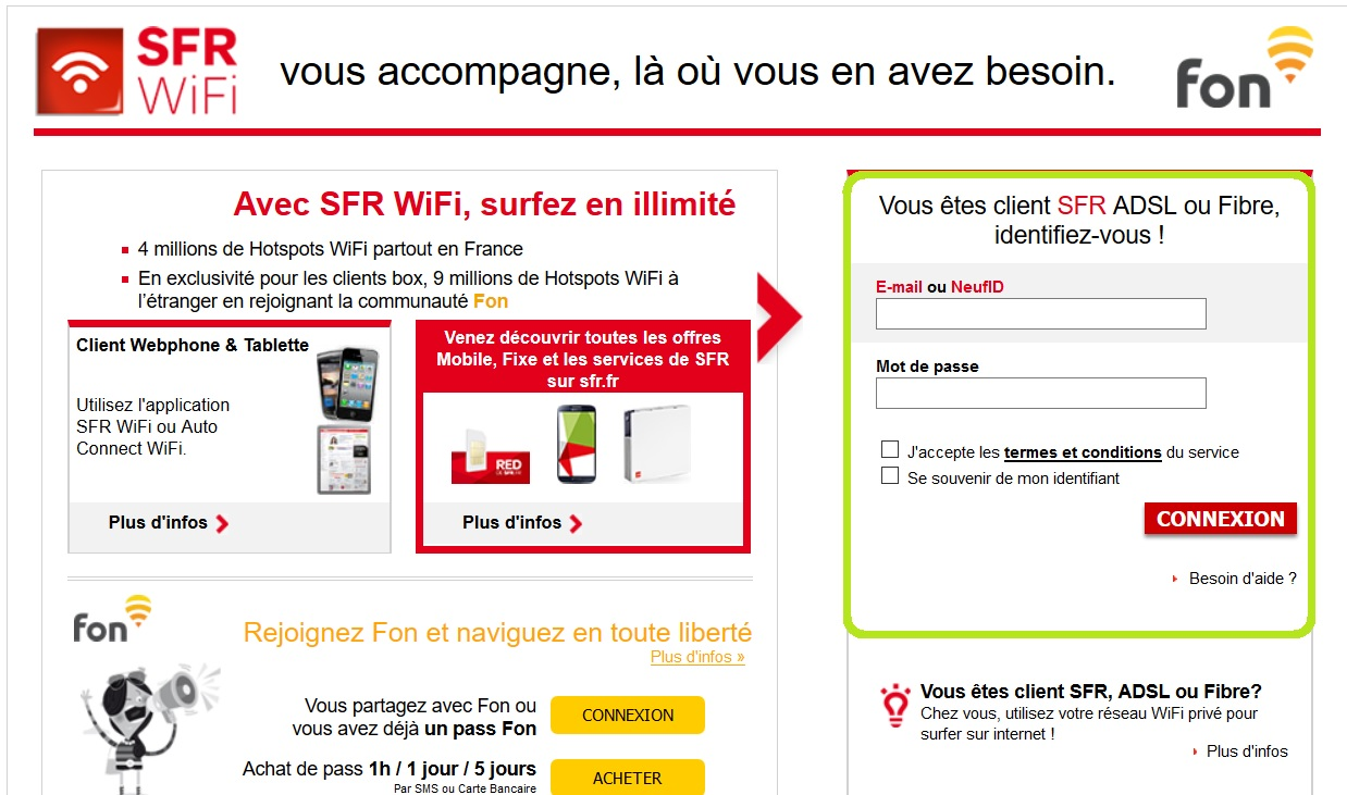 application sfr wifi fon