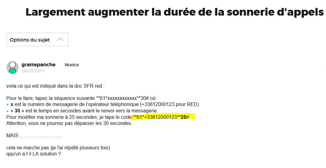 Resolu Sfr Red Allonger La Duree De Sonnerie A 30 Seconde Le